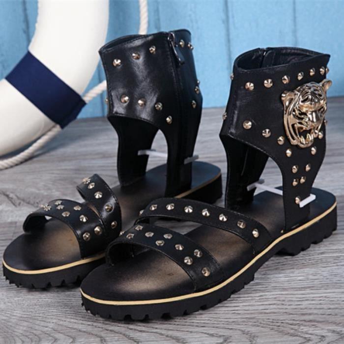 2016 Nouveau Arrivée Hommes Sandales Chaussures d'été Patch italienne Hommes Chaussures Flats Gladiator Sandales Noir Blanc Hommes