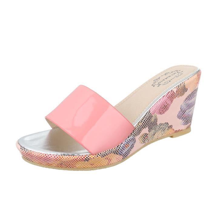 femme sandale chaussure chaussures d'été chaussures de plage semelle compensée Wedges sandalette mule rose g0nVvbFHF