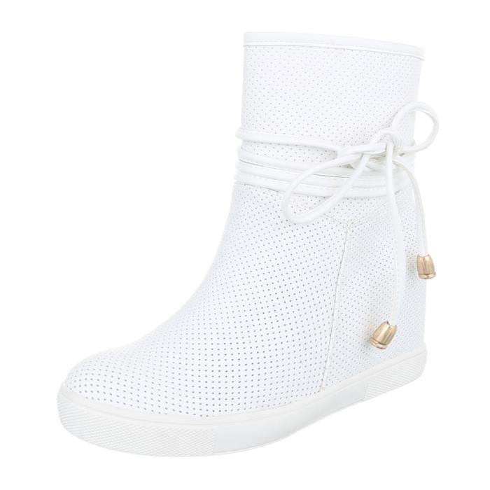 Femme chaussures bottillon perforéWedges bottes blanc 41