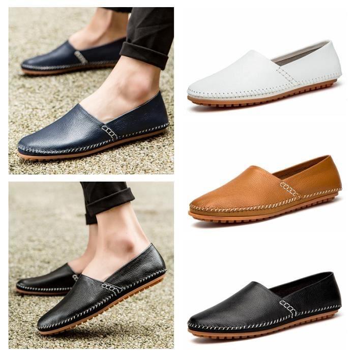 Mens cuir sans-gêne occasionnels mocassins chaussures de bateau de conduite