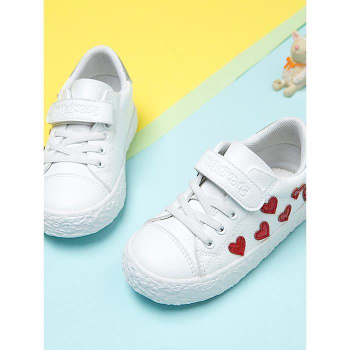 enfants 7475356 mignons Chaussures Casual de Velcro Motif Chaussures Fille Coeur YZwPzfq