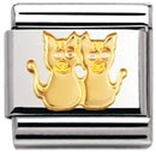 Nomination 030112 - Maillon Pour Bracelet Composable Mixte - Acier Inoxydable Et Or Jaune 18 Cts G3D9J
