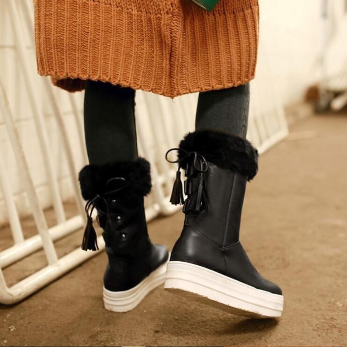 Neige De À Plates Chaussures D'hiver Talon Oppapps12058 Frange Féminine Mode Moyen Bottes Lacées A8wxgUZzFq