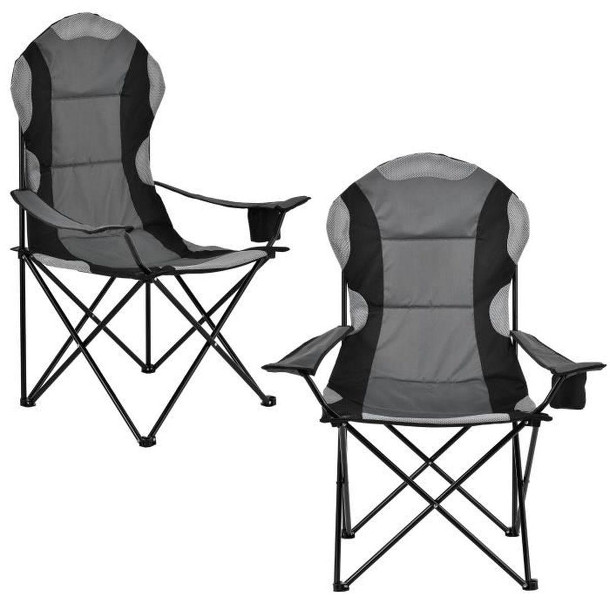 2 Gris Camping Noir Prix Pliante Kit En Pas Yv8n0pnowm Chaise Cher De qVGMLSUpz