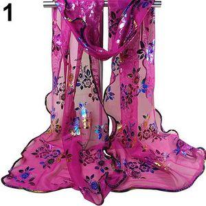 5e291939b69c Mode féminine imprimé floral Tulle écharpe longue douce pure ourlet Wrap  châle étole rose rouge