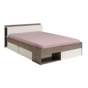 lit adulte avec rangement complet avec sommier et matelas achat vente lit adulte avec. Black Bedroom Furniture Sets. Home Design Ideas