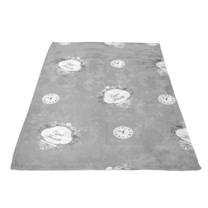 SOLEIL D' OCRE Plaid polaire microfibre Esprit de Famille - 110 x 160 cm - Gris