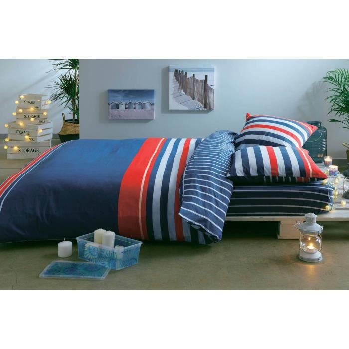 Parure de couette 52% polyester et 48% coton - Housse de couette + 2 taies d'oreiller - Bleu, blanc et rougePARURE DE COUETTE