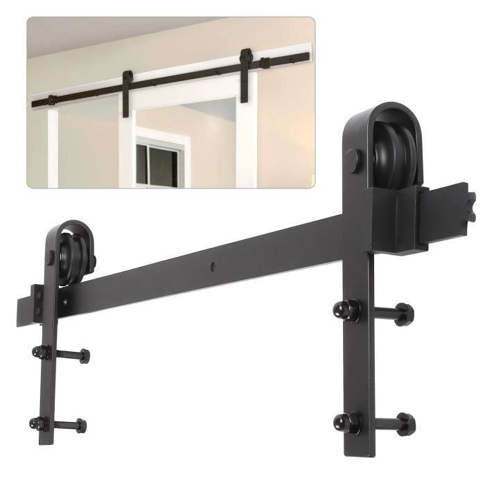 femor 200cm quincaillerie kit de rail porte coulissante hardware ensemble industriel pour porte suspendue en bois 66ft