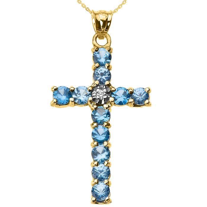 Collier Femme Pendentif 10 Ct Or Jaune Diamant et Bleu Clair Oxyde De Zirconium Croix (Livré avec une 45cm Chaîne)