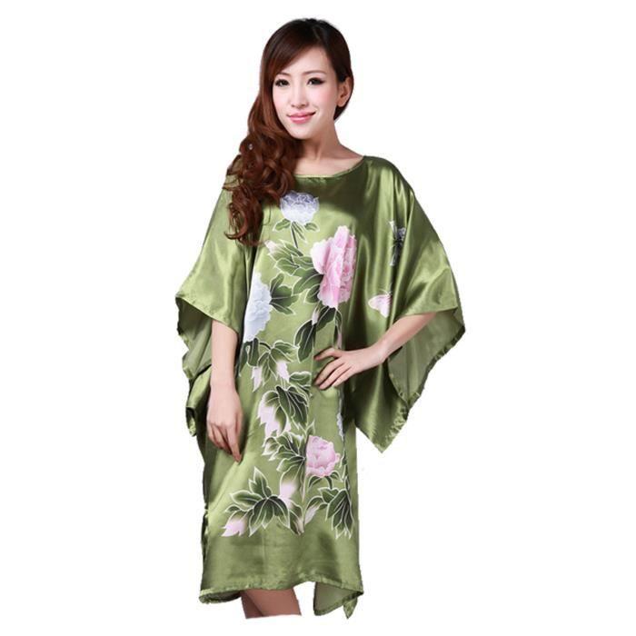 en soldes 6d022 b095e Femmes Pyjama Chemise de Nuit Manche Courte Robe de Nuit Peignoir Kimono  Pivoine Vert Sombre