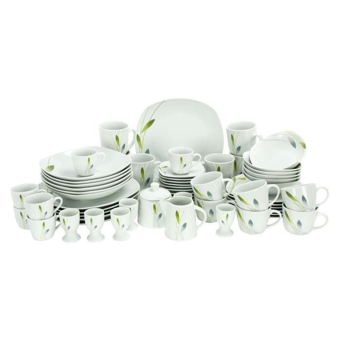 Set de Vaisselle, Assiette Tasse en Porcelaine 62 pcs, serie ...