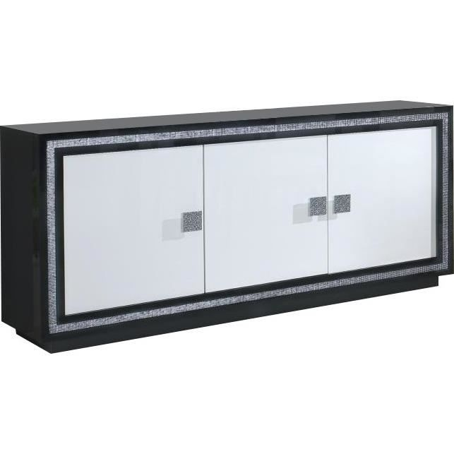 Bahut ultra design noir et blanc laqué avec strass - Achat / Vente ...