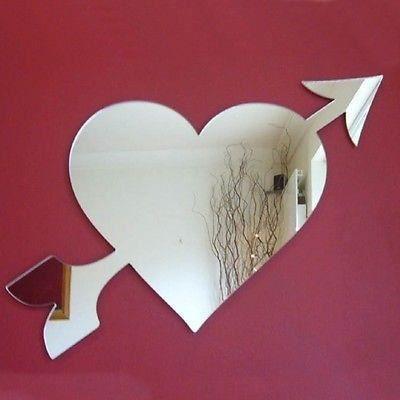 Coeur et fl che miroir acrylique 20 cm x 25 cm achat for Miroir acrylique