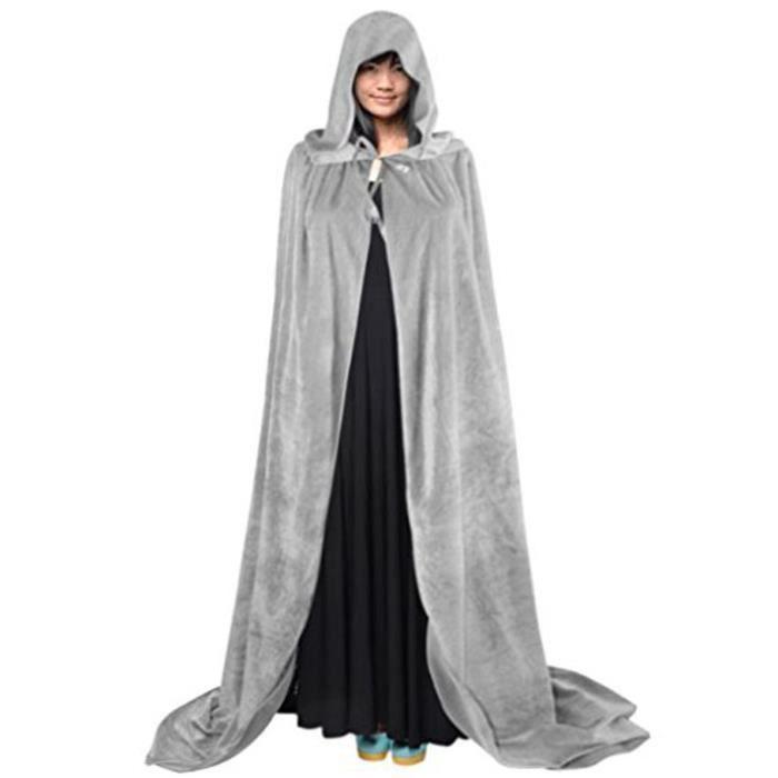 9c2ab318223a2 Halloween Cape à Capuche Poncho Capuchon Longue Costume Sorcière Diable  Médiévale Manteau Femme Homme Unisexe Déguisement Maquillage