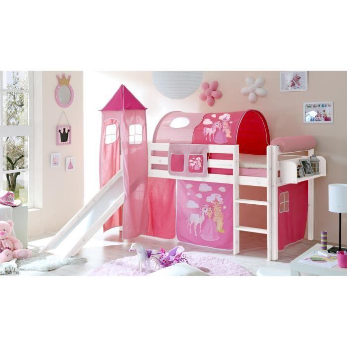 Lit Mezzanine Enfant Kasper Pin T Blanc Sommier 4250393857354