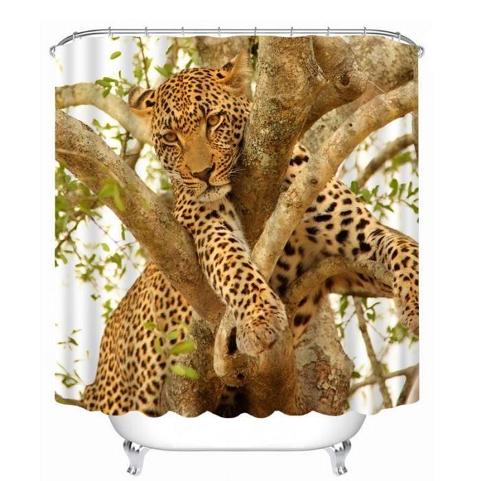 rideau de douche l opard grimpe sur un arbre 3d effect imperm able 180 x 200 cm achat vente. Black Bedroom Furniture Sets. Home Design Ideas