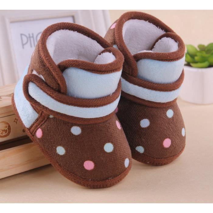 Brun Dot chaussures de bébé bébé chaussures tout-petits chaussures en coton.