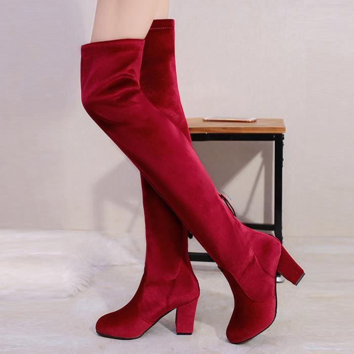 Hiver femmes Cuissardes sur le genou Bottes Stretch Flock Talons hauts Chaussures rouge NbLnI