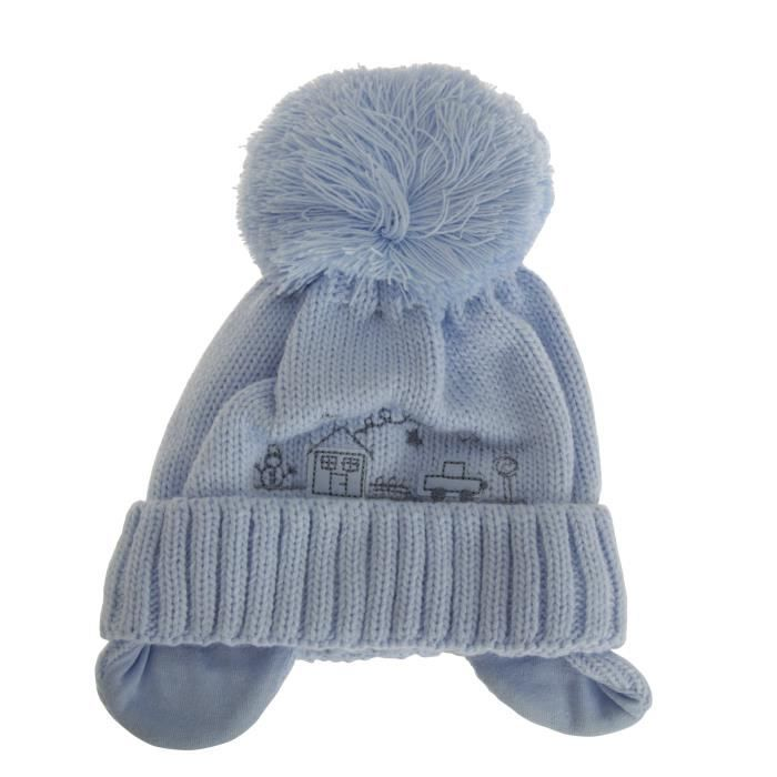 Bonnet à pompon - Bébé garçon Bleu - Achat   Vente imperméable ... 82de99cd33d