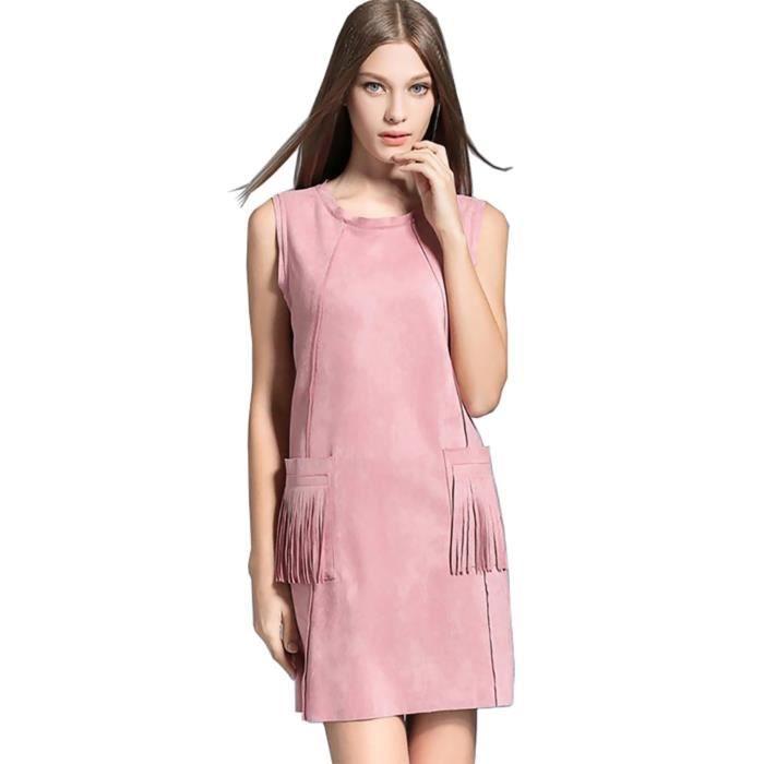 femmes dété robe sans manches plus la taille faux daim bureau nouveau été 2018 rose jaune