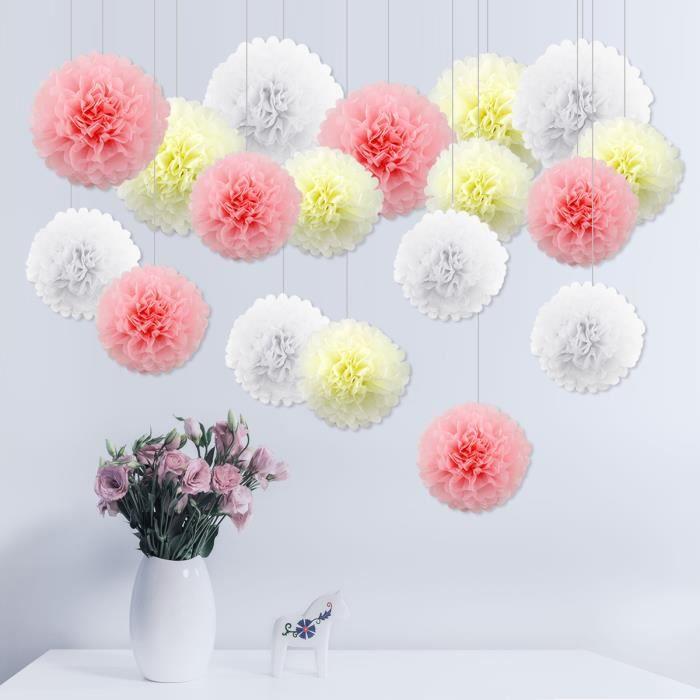 18x pompons papier de soie fleur papier blanc beige rose. Black Bedroom Furniture Sets. Home Design Ideas