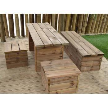 Salon de jardin box en bois traité - table 150 ... - Achat / Vente ...