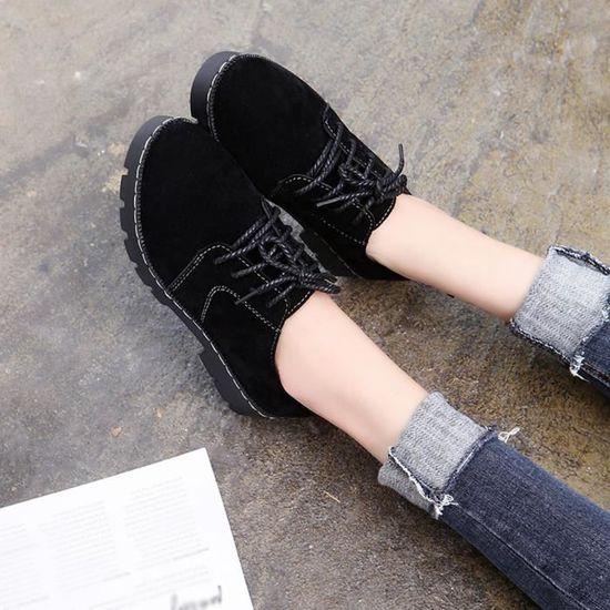 Rond Mode Up Cheville Bottes Dentelle De Pageare981 Casual Bout La Shoes Femmes Courtes Plat Suede lKJcFT1