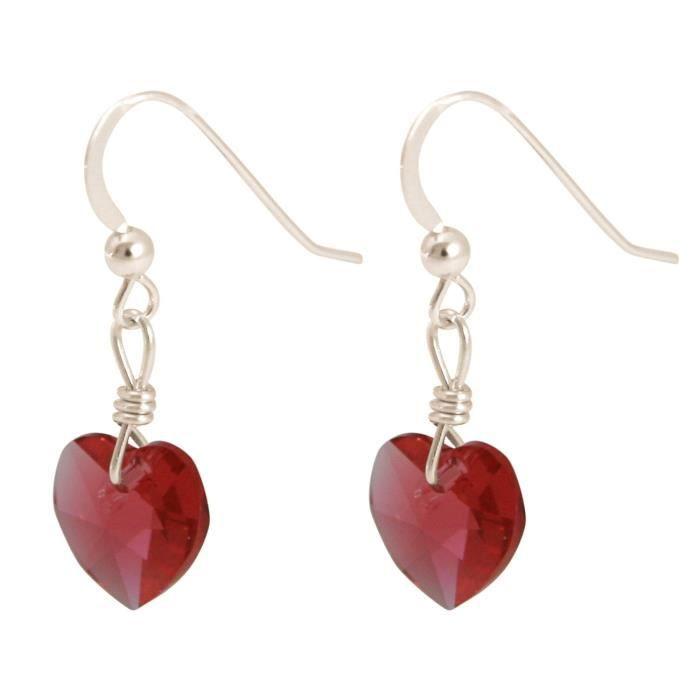 Gemshine - Dames - Boucles doreilles - 925 argent - coeur - rouge - de SWAROVSKI ELEMENTS® - 2,5 cm
