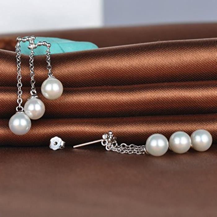 Boucle DOreille Les Jolies Perles À Trois Rangées En S925 Argent Fin Blanc DArgent Clou DOreille Aimable Et Élégant Pour Femm