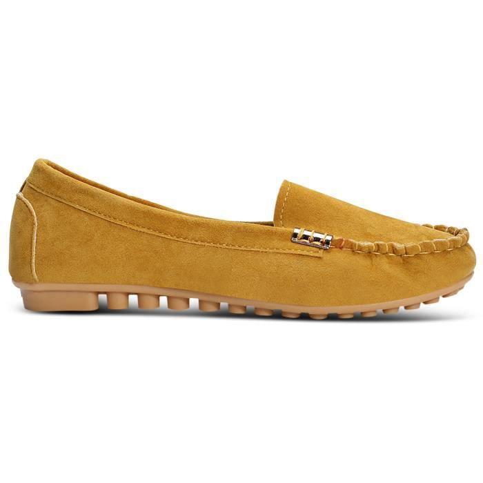 Slip-sur les femmes antidérapants Chaussures plates bout rond Casual