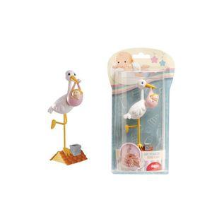 Figurine décor gâteau Figurine pour Gâteau Cigogne sur le Toit - Fille -