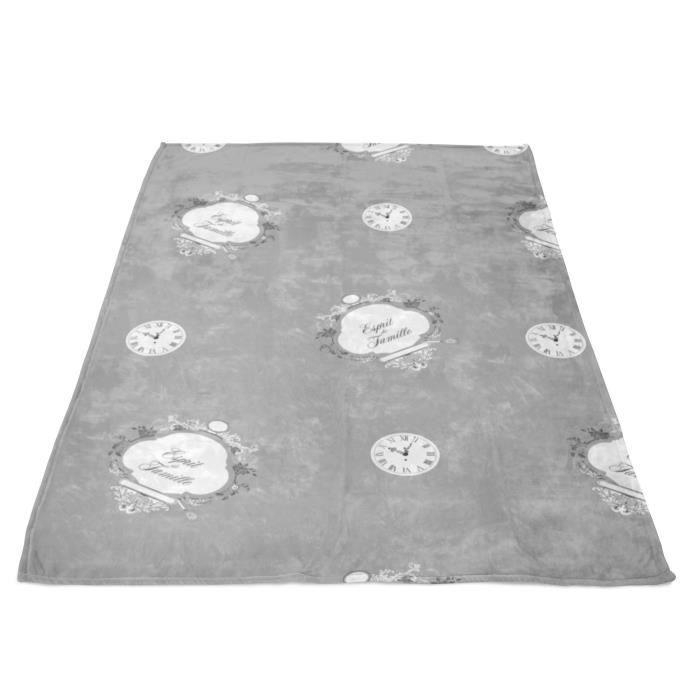 SOLEIL D' OCRE Couverture polaire microfibre Esprit de Famille - 220 x 240 cm - Gris