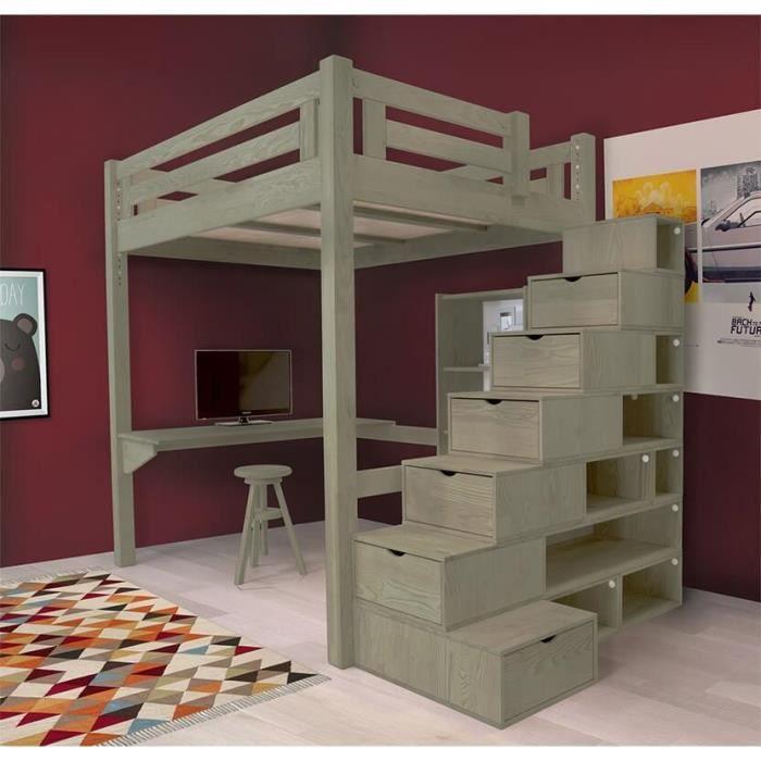 Lit Mezzanine Alpage Bois Escalier Cube Hauteur Réglable Teinté