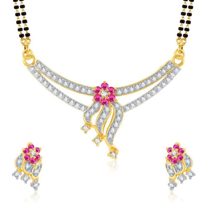 Womens galsutra Pendant Set With Earrings For Jewellery Set Gold Plated In Cz American Diamond Ms HDHQ3