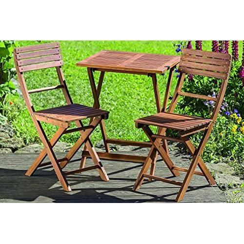 Dapo Lounge Set Remo napperon table en bois A + Deux chaises Mobilier de  jardin Terrasse.