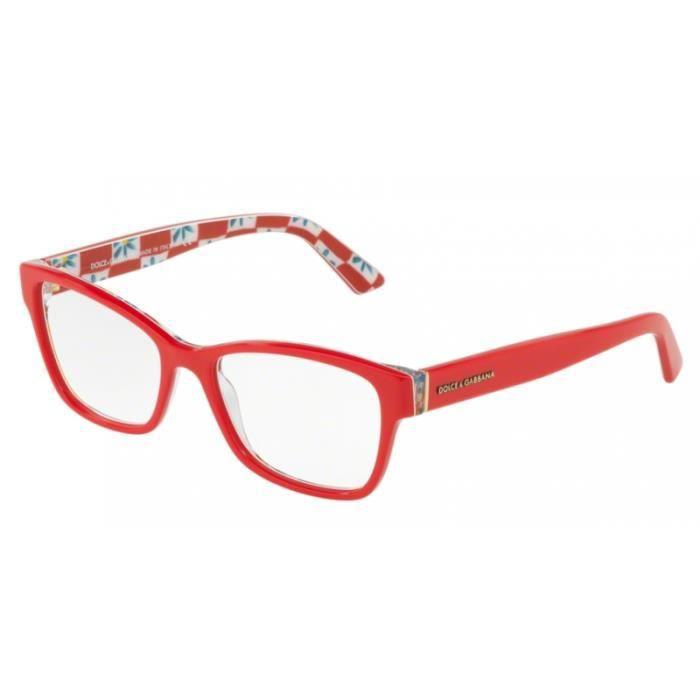 6b16dfdf3fabe Lunettes de vue femme Dolce   Gabbana DG3274 3129 Rouge 52-17 ...