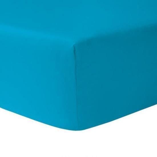 Drap Housse 160 x 200   Turquoise 100% coton 57 fils / cm   Achat