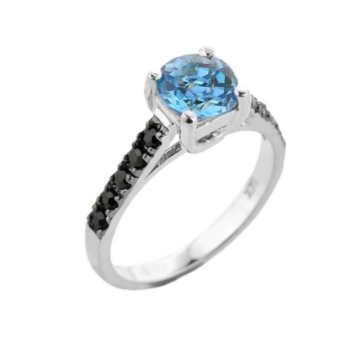 Bague Femme 10 ct Or Blanc 471/1000 Bleu Topaze et Noir Diamant Solitaire