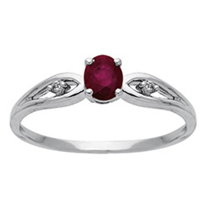 DIAMANTLY Bague rubis ovale 5*4 diamants 0.03ct or gris 750/1000