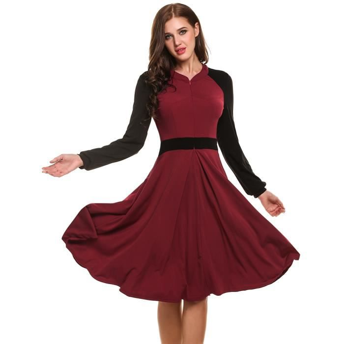 Robe femme Style Vintage Stand col manches longues Patchwork Swing occasionnel