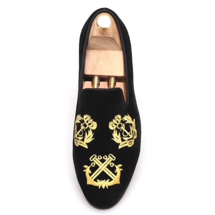Nouveau style à la main des hommes chaussures de velours avec cuir de luxe de broderie et satin et partie semelle intérieure