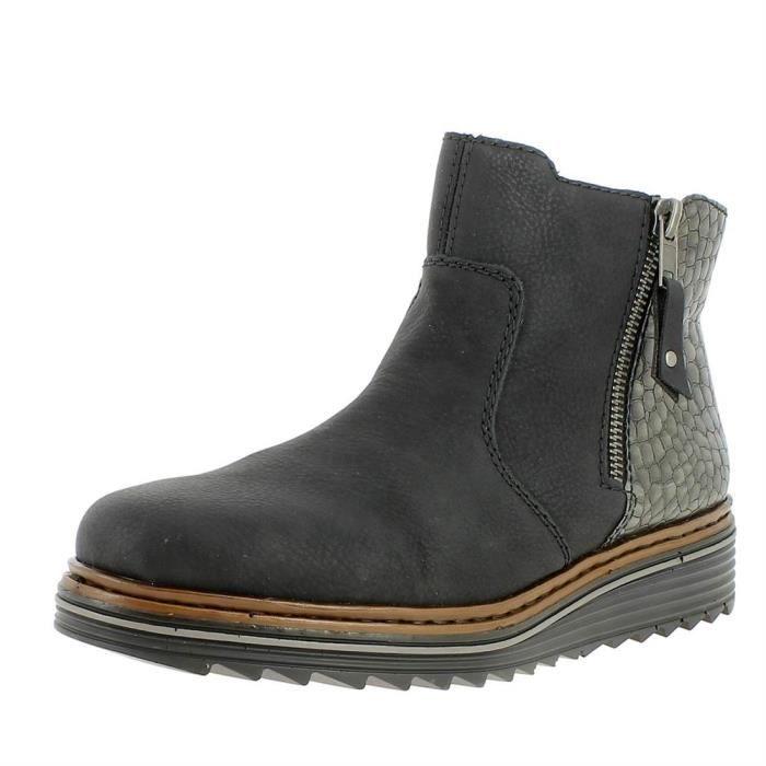 faff29c4eaf887 Bottines / low boots y6388 femme rieker y6388 Noir Noir - Achat ...