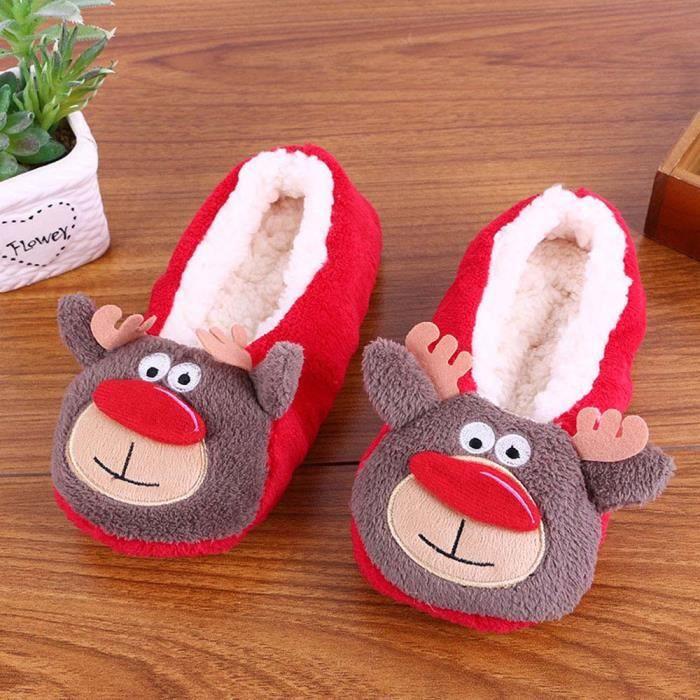 Femmes Dames Coton Chaud Pantoufles D'intérieur Doux Peluche Noël Chaussures café WE684 kklPJHvmt