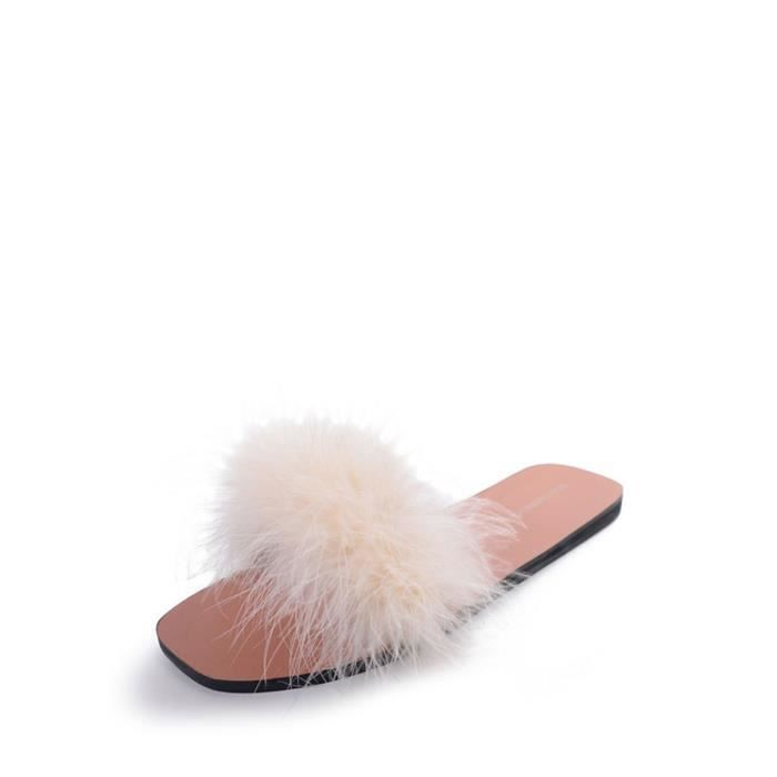 Chaussons Fluffy mignon couleur solide Comfy Chaussures femme 8082792