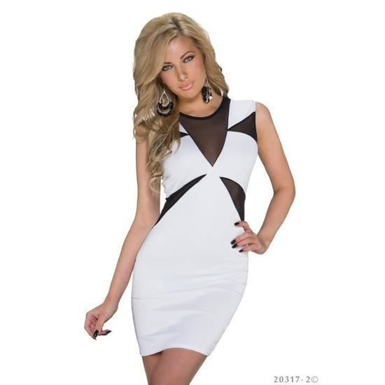 ef941dc707c43 Robe blanche noir moulante droite soirée femme Blanc blanc - Achat ...