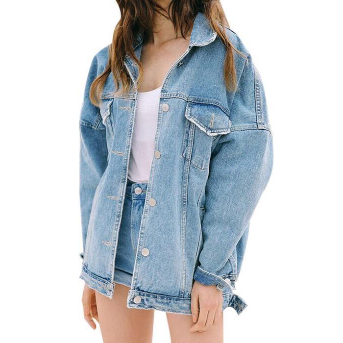 e5aed330a5 Bleu clair Blouson Femme en Denim Veste Jean Jacket Demi-longue Oversize  Boyfriend Boutonné Casual Printemps-Automne Grande Taille
