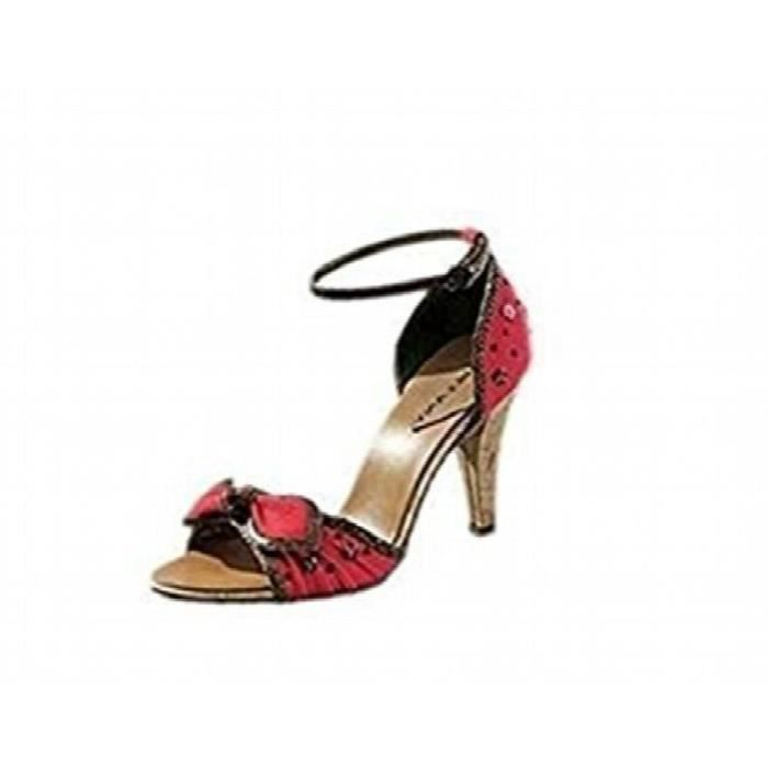 Heel 3veg5j Taille Rouge High Cuir Sandal Textile Mix Et 36 De RzTqfd