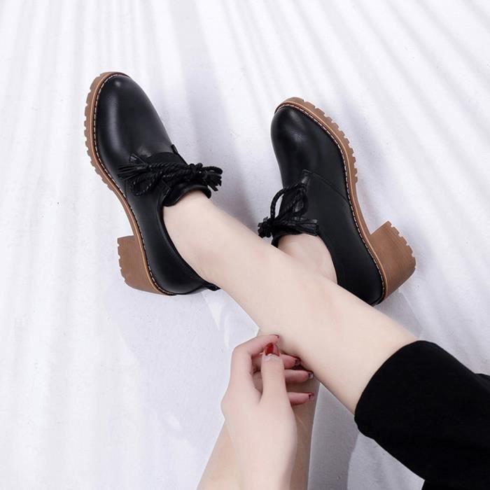 Chaussures Féminine Tassel Épais En Casual Martin Mode Lacets Bottes Cuir Be72925 npfw8dIxq6