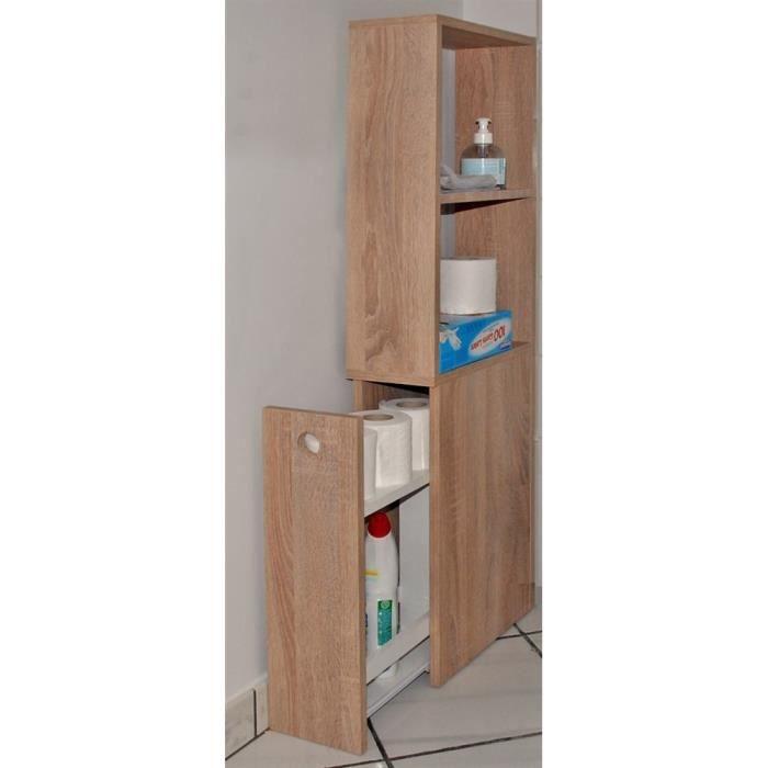 Meuble de toilettes 1 tiroir-2 niches Alaska Chêne blanchi - Achat ...